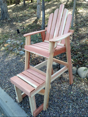 Bistro / Balcony Chair Chairs are solid Redwood and are unfinished. The elevated height design is great for extending your view.